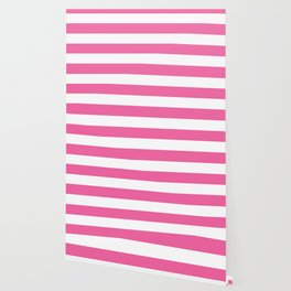 Barbie Pink (1990-1999) - solid color - white stripes pattern Wallpaper