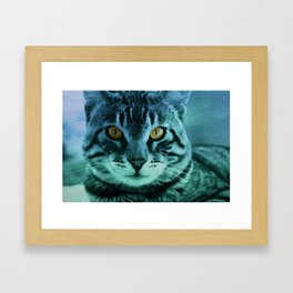 Green Cat Watercolor Framed Art Print