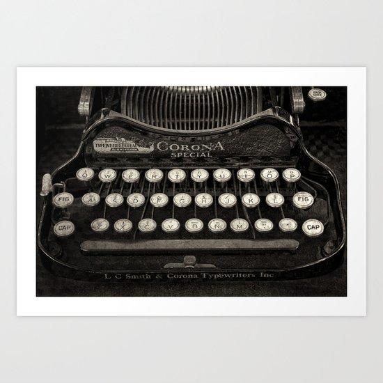 Old Typewriter Keyboard Art Print