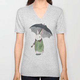 Mr. Tibbles Loves the Rain Unisex V-Neck