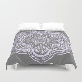 Mandala Flower Gray & Lavender Duvet Cover
