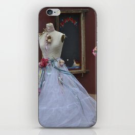Old wedding dress on display iPhone Skin