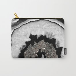 Gray Black White Agate with Silver Glitter #2 #gem #decor #art #society6 Carry-All Pouch