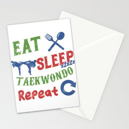 Martial Artist Life Eat Sleep Taekwondo Repeat  Stationery Cards