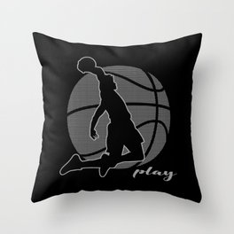Basketball Player (monochrome) Throw Pillow
