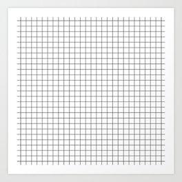 Black and White Thin Grid Graph Art Print