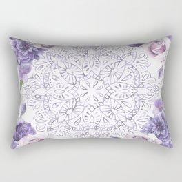 Mandala Rose Garden Lavender Purple Violet Rectangular Pillow