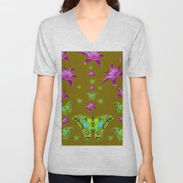 PURPLE LILIES BLUE-GREEN-YELLOW PATTERNED MOTHS Unisex V-Neck