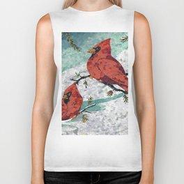 Cardinals In Winter Biker Tank