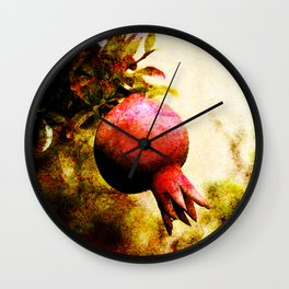 Pomegranate fruit growing on its branch Wall Clock