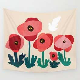 Poppy flowers and bird Wall Tapestry