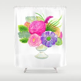electricflora teacup watercolor Shower Curtain