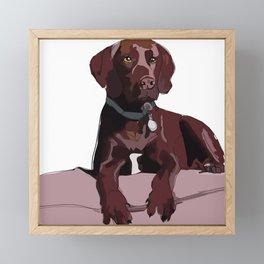 Labrador dog (chocolate) Framed Mini Art Print