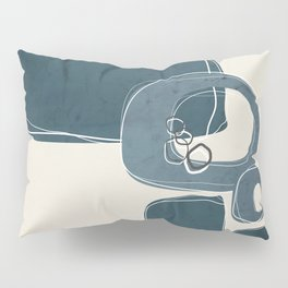 Retro Abstract Design in Teal and Aqua Pillow Sham