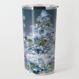 Snowy Blue Christmas Scene Travel Mug