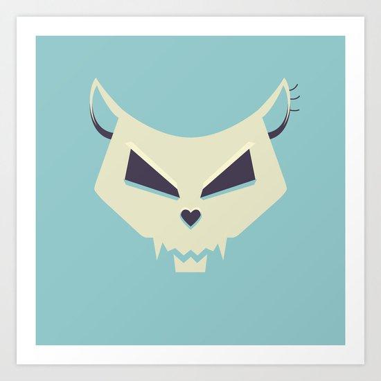 Pastel Evil Cat Skull Art Print