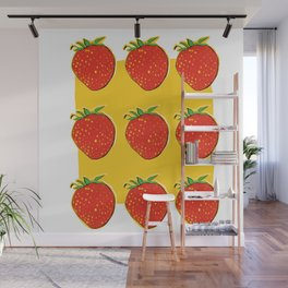 Strawberry with pizza Wall Mural