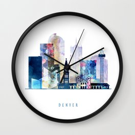 Denver colorful watercolor skyline, Colorado cityscape Wall Clock