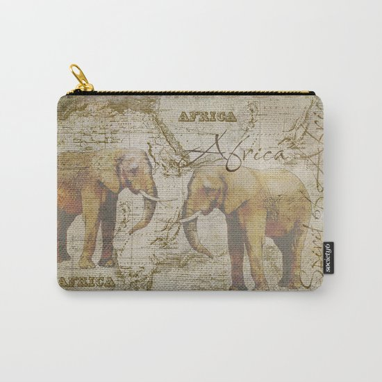 Spirit of Africa Elephant mixed media art Carry-All Pouch