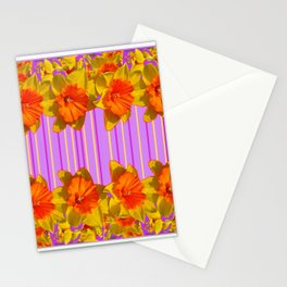 GOLDEN DAFFODILS PURPLE VIOLET MODERN ART Stationery Cards