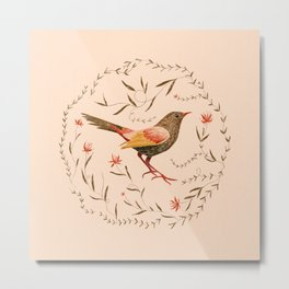 Birdy and flowers// hand drawn bird illustration, floral bouquet, bloom Metal Print