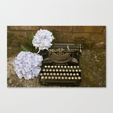 Typewriter with Hydrangeas  Canvas Print