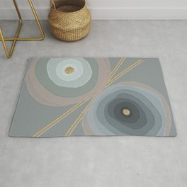 Watercolour Flowers with Gold Details Rug