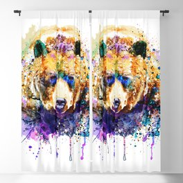 Colorful Grizzly Bear Blackout Curtain