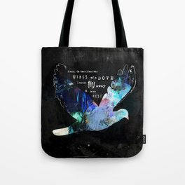 DOVE Psalm 55:6 Wings of a Dove Scripture Abstract Art Michel Keck Tote Bag