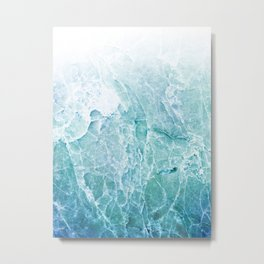 Sea Dream Marble - Aqua and blues Metal Print