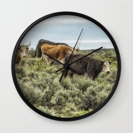 Five Cows Coming Down a Hill Wall Clock