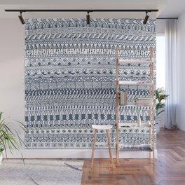 Indigo Doodle strips Wall Mural