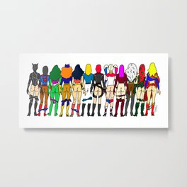 Superhero Butts - Girls - Row Version - Superheroine Metal Print