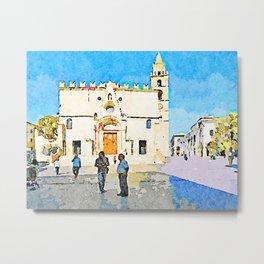 Teramo: men speak in front of the cathedral Metal Print