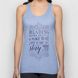 Reading gives us a place to go - inversed Unisex Tank Top