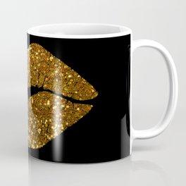 Gold Sparkle Kissing Lips Coffee Mug