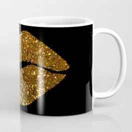 Gold Sparkle Kissing Lips Coffee Mug