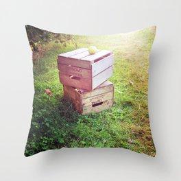 Apple Crates Throw Pillow