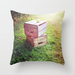 Apple Crates Throw Pillow