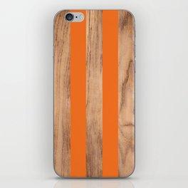 Wood Grain Stripes - Orange #840 iPhone Skin