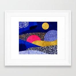 Terrazzo galaxy blue night yellow gold pink Framed Art Print
