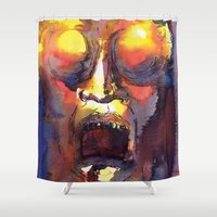 fear and loathing Shower Curtains featuring Fear  by Stevyn Llewellyn
