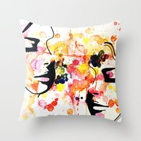 her art Throw Pillows featuring #her by Yazmeen Collazo