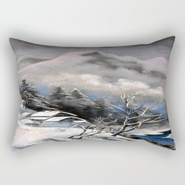 Winter village in the mountains Rectangular Pillow