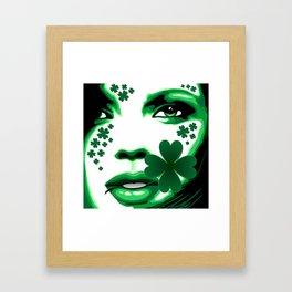 St Patrick Girl with Shamrock on Lips Framed Art Print