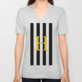 Black White Stripe Yellow H 2 Unisex V-Neck