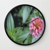 rileigh smirl Wall Clocks featuring Pink Flower by Rileigh Smirl