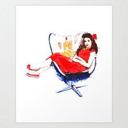 Bobby Girl Retro Vintage Pin Up Girl Art Print