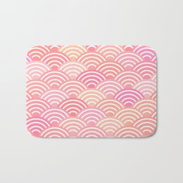 dragon fish scales simple pattern Nature background with japanese wave Bath Mat