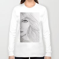 emma stone Long Sleeve T-shirts featuring Emma Stone Drawing by Olivia Scotton